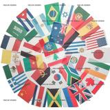 Kit Cordão Bandeira 32 Países Bandeirinhas 20cm X 30cm 14met