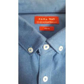 Camisa Zara Man Slim Fit Azul Talla L 42 Mx Casi Nueva