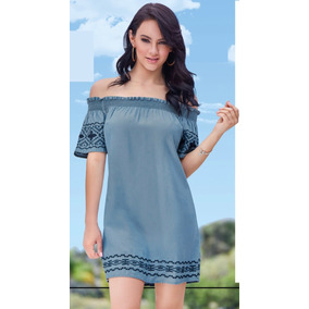 Vestido Azul Mezclilla C/bordados Cklass 981-01