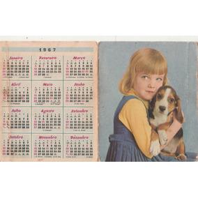 Calendário Bolso 1967 - Imagem De Menina E Cão - Aj9