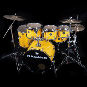 Bateria Acustica Nagano Garage Rock Yellow Racing C/ Banco