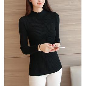 Elegante Cómoda Blusa Suéter Mujer Slim Fit Cuello Alto