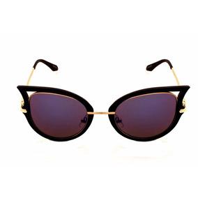 Oculos De Sol Drop Me Feminino Gatinho Icone Espelhado Azul 1f9d8513ba