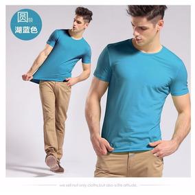 Kit Com 3 Camisa Slim Fit Camiseta Básica Lisa - Masculina