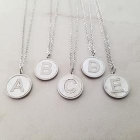Collar Letra Inicial Madre Perla Dije Plata Acero Inoxidable