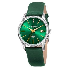 Reloj Akribos Xxiv Ak879gn Date Diamond Dial Verde Nuevo Co
