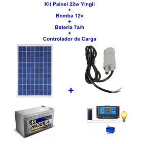 Kit Painel Solar 22w+bomba 12v+ Bateria+controlador
