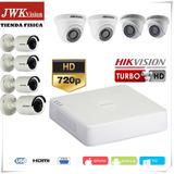 Kit 8 Camaras Seguridad Hikvision 4 Bullet Y 4 Domo 720p Jwk