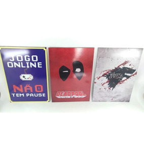 Kit 3 Placas Decorativas 20x29cm Gamer, Got, Deadpool