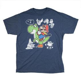Playera Camiseta Azul Think Geek Yoshi Mario Super Nintendo