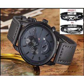 ab93dd34b9c56 Relógio Masculino Original Curren Pulseira De Couro Aço Inox ...