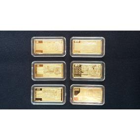 Lote 06 Moedas/barra Banhada Ouro 24k - Dólar Australiano