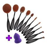 Set 10 Brochas Oval Negra Maquillaje + Esponja+ Envío Gratis
