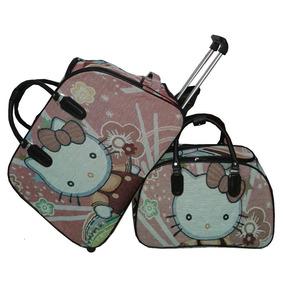 Kit Conjunto Mala De Rodinha + Mala De Mão Hello Kitty