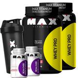 Combo 2 Whey Pro + 2 Bcaa + Coqueteleira - Max Titanium