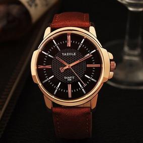 Relógio Masculino Original Luxo Frete Grátis Yazole Couro