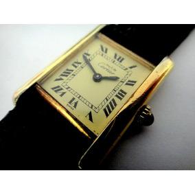 Relógio Cartier Paris Francezinho Prata Banhado A Ouro
