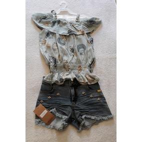 Conjunto Mini Miss Blusa E Shorts Jeans