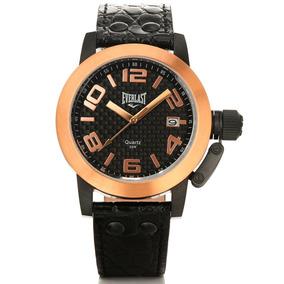 99ab64af065 Rel Gio Everlast E124 Preto Inox Couro Caixa Novo - Relógios De ...