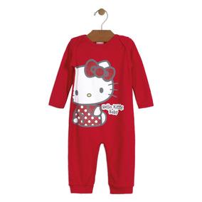 Macacão Bebê Suedine Hello Kitty