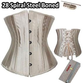 28 Steel Boned - M - Beige - Mujeres Senos Libres Goth -9252