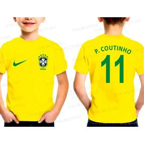 b9e9ae1b5d Camiseta Infantil Seleção Brasil Philippe P Coutinho Felipe