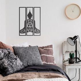Quadro Decorativo Parede Trio Meditação Zen Paz Yoga 38cm
