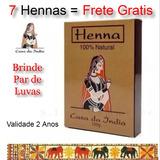 Kit 7 Cx Henna Indiana 100% Natural Pura + Luvas Oferta