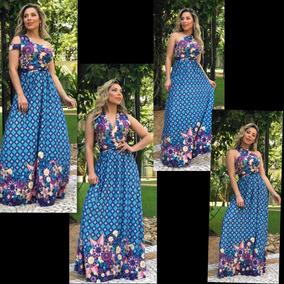 Vestidos Longo Alça Evangelico Estampado Indiano Social Luxo