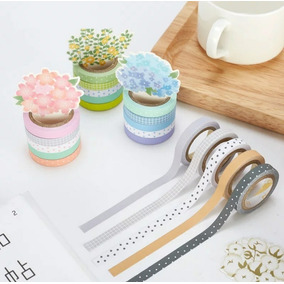 Conjunto De 10 Fita Decorativa Washi Tape Scrapbook 5 Metros