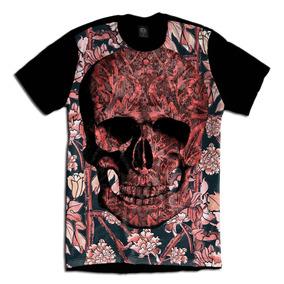 Skull Caveira Floral Swag Camiseta Personalizada b32fd3369dc