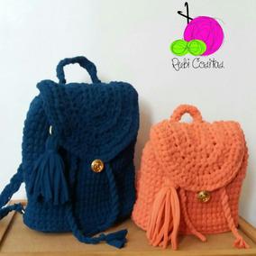 Morral Bolso Cartera En Tejido Crochet Con Trapillo f9a4067943c