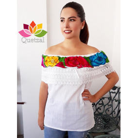 Blusa De Dama Mexicana Campesina Bordada Artesanal Típica Bl