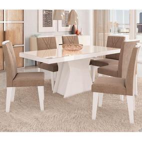 Conjunto De Mesa Olivia 180x90cm Com 6 Cadeiras Nicole -