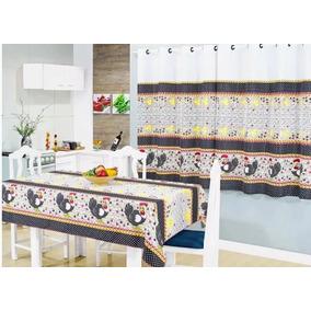 Kit Cortina + Toalha De Mesa 6 Cadeiras Preço Barato