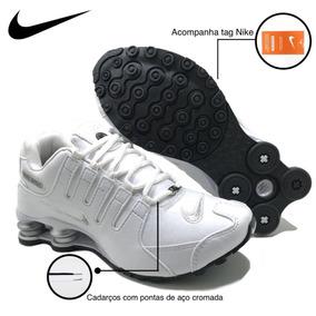e4ec05aeb2 Tênis Nike Shox Preto Rosa Couro Feminino Menina Promoção.