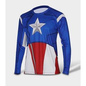 Camisa Super Heróis Capitão América Manga Longa Azul