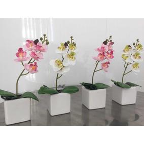 Planta Artificial Orquídea Com Vaso Cerâmica