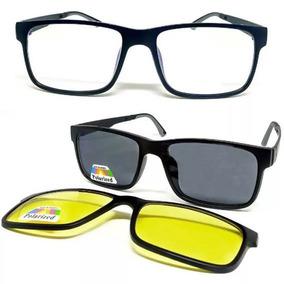 0cea68712 Armação Oculos Grau Sol Masculino 2 Clip On Polarizado Femin