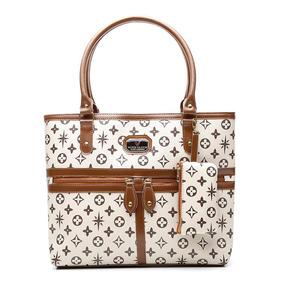 6e842337b7630 Bolsa Feminina Victor Valencia Grande Com Zíper Frontal Bege por Hubsales  Shop