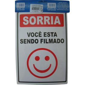 Placa Sorria Você Está Sendo Filmado 14x19cm 2 Unid