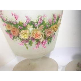 Compoteira De Vidro Jateado Com Flores Em Relevo