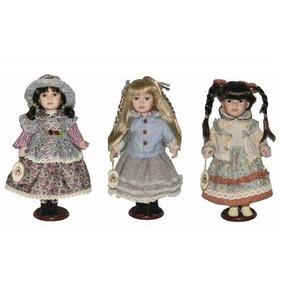 3 Trio Boneca De Porcelana Camponesa 40cm Gigante Importadai