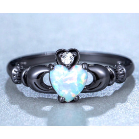 Anillo Compromiso Claddagh Gold Filled Grey Opalo