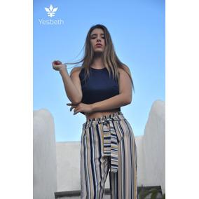 Pantalón P/ Dama Holgado Rayado Beige, Negro, Blanco Yesbeth