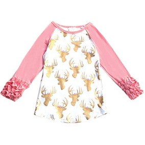 Little Girl Kids Camiseta Con Camiseta Raglan De Algodon Ren