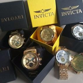 Kit Com 5 Relógios Masculino Luxo + Caixa Atacado Promoção