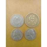4 Monedas Antiguas De Dolar Y Cuaras Y 5 Centavos Colecsiona