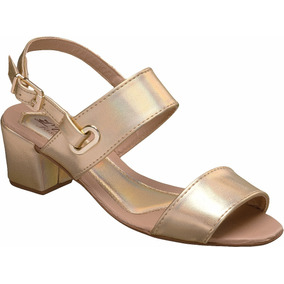 Sandalia Feminina Salto | Mod 3 | Jeans, Marrom, Dourado