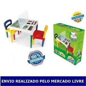 Mesinha Didatica Infantil Poliplac Com 2 Cadeiras Adesivos
